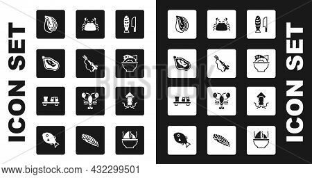 Set Fish With Sliced Pieces, Fishing Harpoon, Mussel, Served Fish Bowl, Crab, Octopus And Sushi Cutt