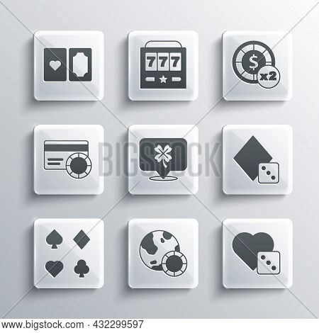 Set Casino Chips, Game Dice, Slot Machine With Clover, Deck Of Playing Cards, Credit, And Icon. Vect