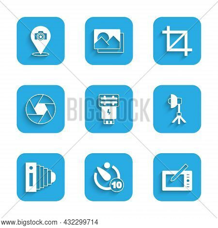 Set Photo Camera Flash, Camera Timer, Graphic Tablet, Softbox Light, Shutter, Picture Crop Photo And