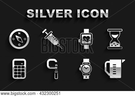 Set Micrometer, Old Hourglass With Sand, Measuring Cup, Wrist Watch, Calculator, Smart, Compass And
