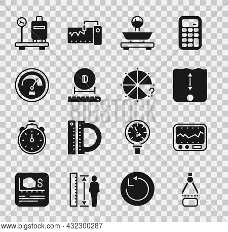 Set Drawing Compass, Measuring Instrument, Depth Measurement, Scales, Diameter, Speedometer, With Su