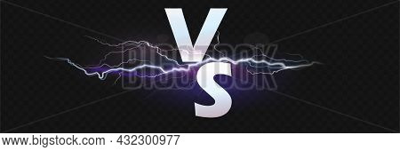 Versus Screen. Vs Battle Headline, Conflict Duel Between Red And Blue Teams. Confrontation Fight Com