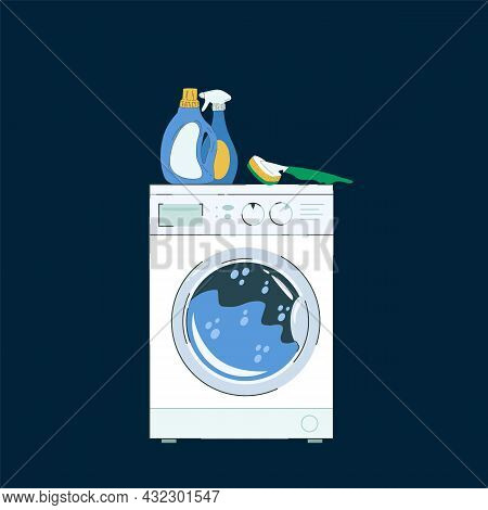 Illustration Of A Washing Machine. A Picture For A Laundry Service With Detergents. Vector Illustrat