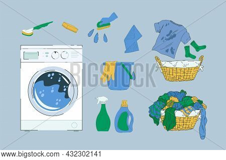 A Selection For The Laundry Room. Washing Machine, Baskets With Dirty Laundry. Powders, Brushes, Spo