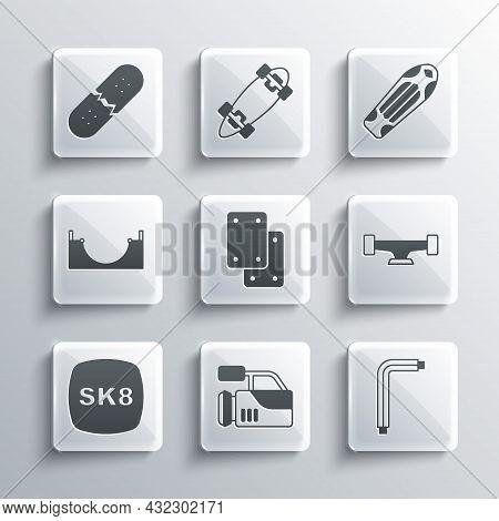 Set Cinema Camera, Tool Allen Keys, Skateboard Wheel, Knee Pads, Park, Broken Skateboard Deck And Ic