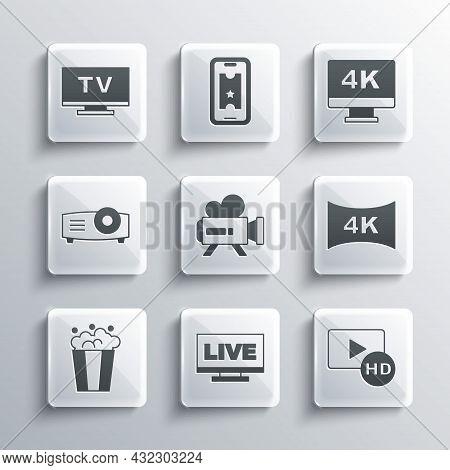 Set Live Stream, Hd Movie, Tape, Frame, Screen Tv With 4k, Retro Cinema Camera, Popcorn Cardboard Bo