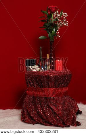 Pearls With Red Rose And Eiffel Tower On Red Velvet Background