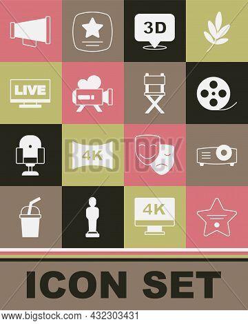 Set Walk Of Fame Star, Movie, Film, Media Projector, Film Reel, 3d Word, Retro Cinema Camera, Live S