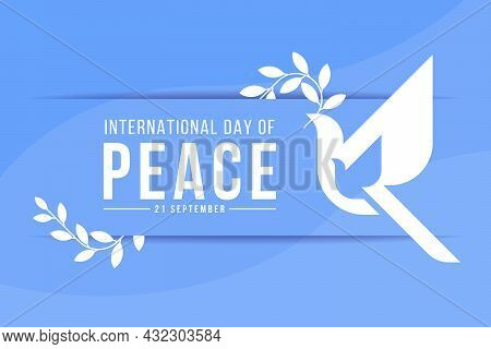International Day Of Peace - White Dove Of Peace To Fly With An Olive Branch Of A Leaf Sign On Abstr