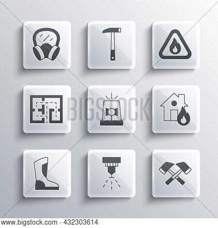 Set Fire Sprinkler System, Firefighter Axe, Burning House, Flasher Siren, Boots, Evacuation Plan, Ga