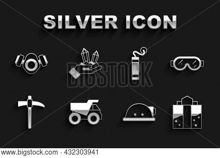 Set Mining Dump Truck, Safety Goggle Glasses, Mine Entrance, Miner Helmet, Pickaxe, Dynamite, Gas Ma