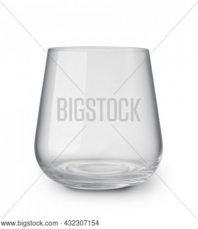 Front view of empty stemless glass tumbler isolated on white