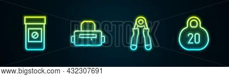 Set Line Anabolic Drugs, Sport Bag, Expander And Kettlebell. Glowing Neon Icon. Vector