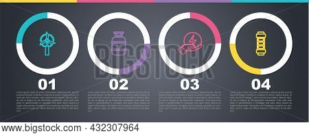 Set Line Wind Turbine, Propane Gas Tank, Lightning Bolt And Battery. Business Infographic Template.
