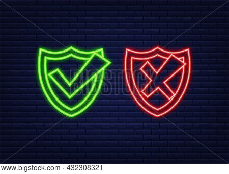 Approved And Rejected Label Sticker Neon Icon. Vector Stock Illustration.