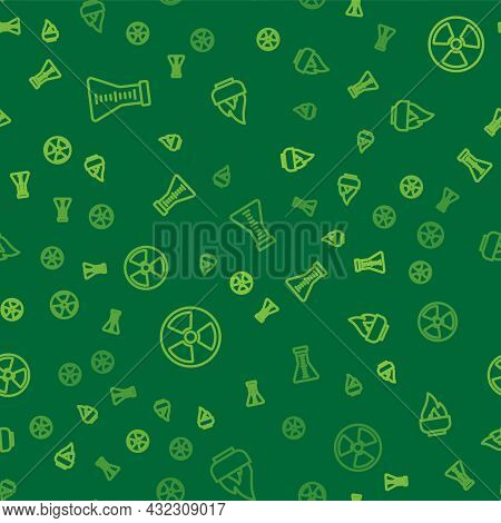 Set Line Test Tube And Flask, Radioactive And Alcohol Or Spirit Burner On Seamless Pattern. Vector