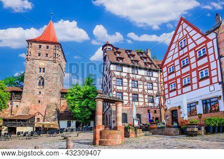 Nuremberg, Germany. Tiergartnertor Square In The Old Town Of Nuremberg, Bavaria.