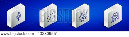 Set Isometric Line Chinese Paper Lantern, Fortune Cookie, Yuan Currency And Gong Icon. Vector