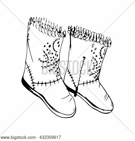 Women's Decorative Winter Boots Isolated On White Background. Black And White Vector Illustration In
