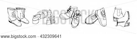 Set Of Female Shoe Items: Boots, Sandals, Sneakers Isolated On A White Background. Vector Black And