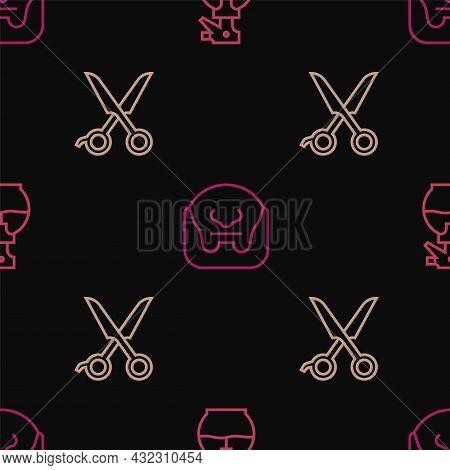 Set Line Hairdresser Pistol Spray Bottle, Scissors Hairdresser And Mustache And Beard On Seamless Pa