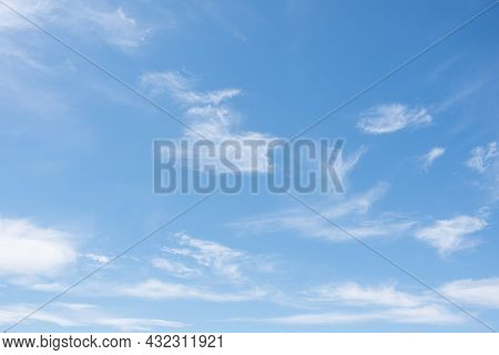 Very Light Feathery Clouds In A Bright Blue Sky. Cirrus Clouds In The Blue Sky, Beautiful Cirrus Unc