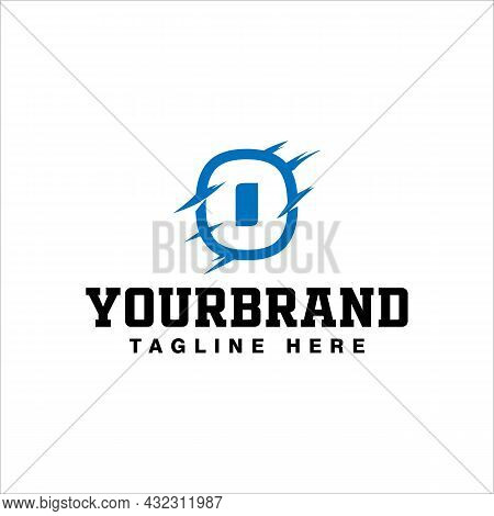Blue Letter O Logo Design With Claw Scratch Vector Illustration