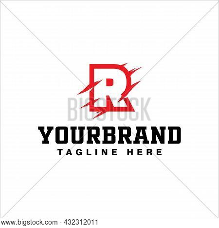 Red Initial Letter R With Claw Scratch Logo Design