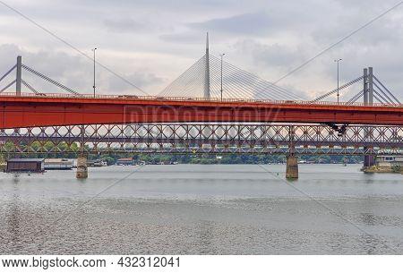 Four Bridges Over Sava River In Belgrade Serbia
