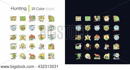 Hunting Light And Dark Theme Rgb Color Icons Set. Wildlife Animal And Bird Hunt. Pursue And Capture