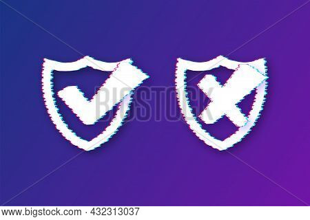 Approved And Rejected Label Sticker Glitch Icon. Vector Stock Illustration.