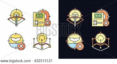 Hunting Provisions And Restrictions Light And Dark Theme Rgb Color Icons Set. Wildlife Protection Ac