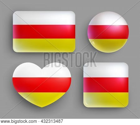 Set Of Glossy Buttons With Ossetia Country Flag. Caucasus Country National Flag, Shiny Geometric Sha