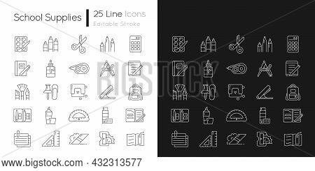 School Supplies Linear Icons Set For Dark And Light Mode. Must-have Items For Back To School. Art Cl