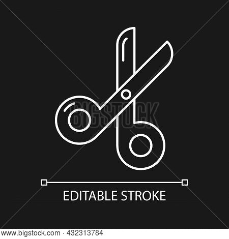Scissors White Linear Icon For Dark Theme. Paper Cutting Tool. Office Shearing Equipment. Thin Line