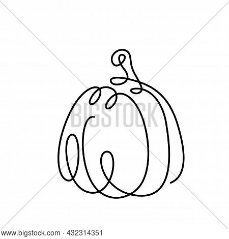 Pumpkin Drawing Continuous Line Vector Illustration. Black One Thin Contour In Vegetable Form. Conce