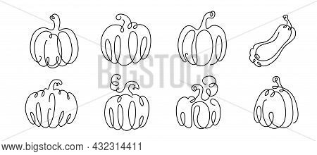 Pumpkin Drawing Continuous Line Vector Illustration Set. Black One Thin Contour In Vegetable Form. C