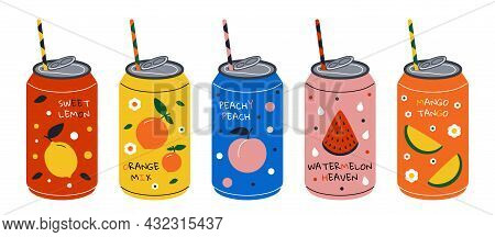 Soda Drink. Cartoon Energy Cocktail And Sweet Fizzy Juiced Drink, Summer Cool Water With Juice And S