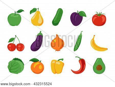 Cartoon Fruits And Vegetables. Fresh Organic Farm Food, Isolated Vegan Salad Ingredients. Vector Hea