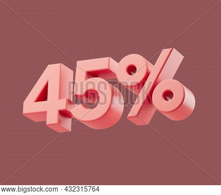 Sale 45 Or Forty-five Percent On Pastel Background. 3d Render Illustration. Isolated Object