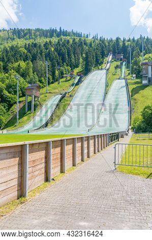 Szczyrk, Poland - June 6, 2021: Skalite Ski Jump Complex Named After The Beskid Olympians.