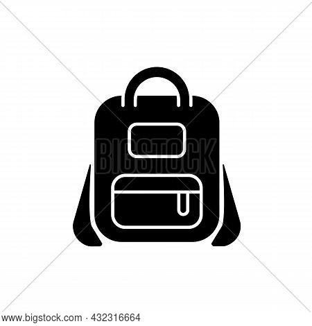 Schoolbag Black Glyph Icon. Bag For Carrying Books And Stationery Items. Backpack For School. Storin