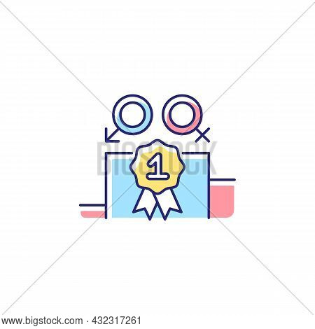 Gender Equality Rgb Color Icon. Enjoy Equal Rewards. Gender Parity. Male And Female Compete Together