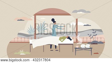 Reiki Treatment As Energy Ritual Practice For Recovery Tiny Person Concept. Technique Method For Alt