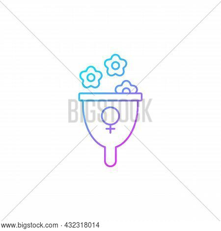 Femininity Symbol Gradient Linear Vector Icon. Represent Female Strength And Gentleness. Feminist Th