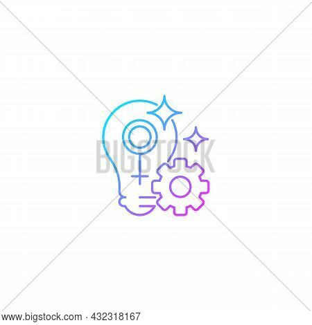 Fulfill Female Potential Gradient Linear Vector Icon. Feminist Activist. Raising Woman Status. Creat