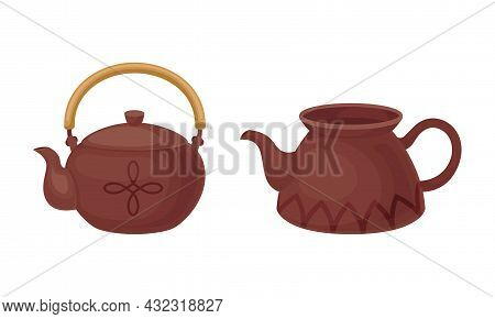 Clay Kitchenware And Ceramic Vessel With Tea Kettle Vector Set