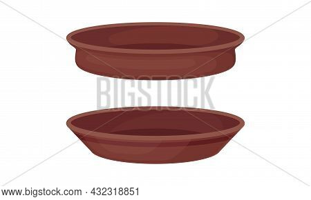 Clay Kitchenware And Ceramic Vessel With Plate Vector Set