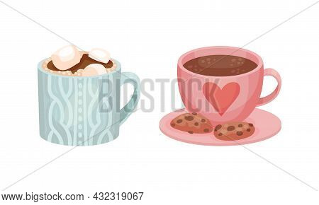 Mug With Hot Drink And Cookie As Hygge And Coziness And Comfortable Symbol Vector Set