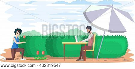 Man Sits In Garden, Surfs Internet And Works Remotely, Break Time. Person Travels, Makes Money By Te